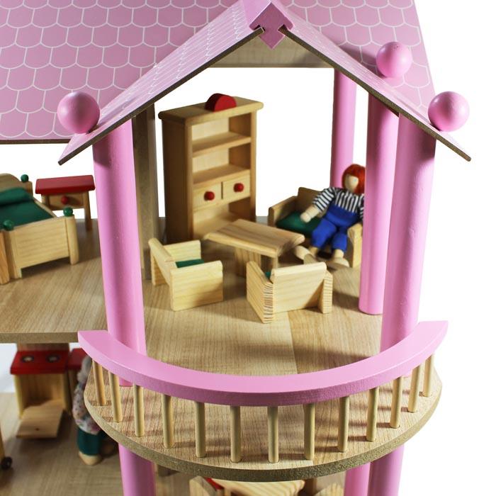 Detalles de enorme XL Casa de Muñecas Villa de madera + Muebles