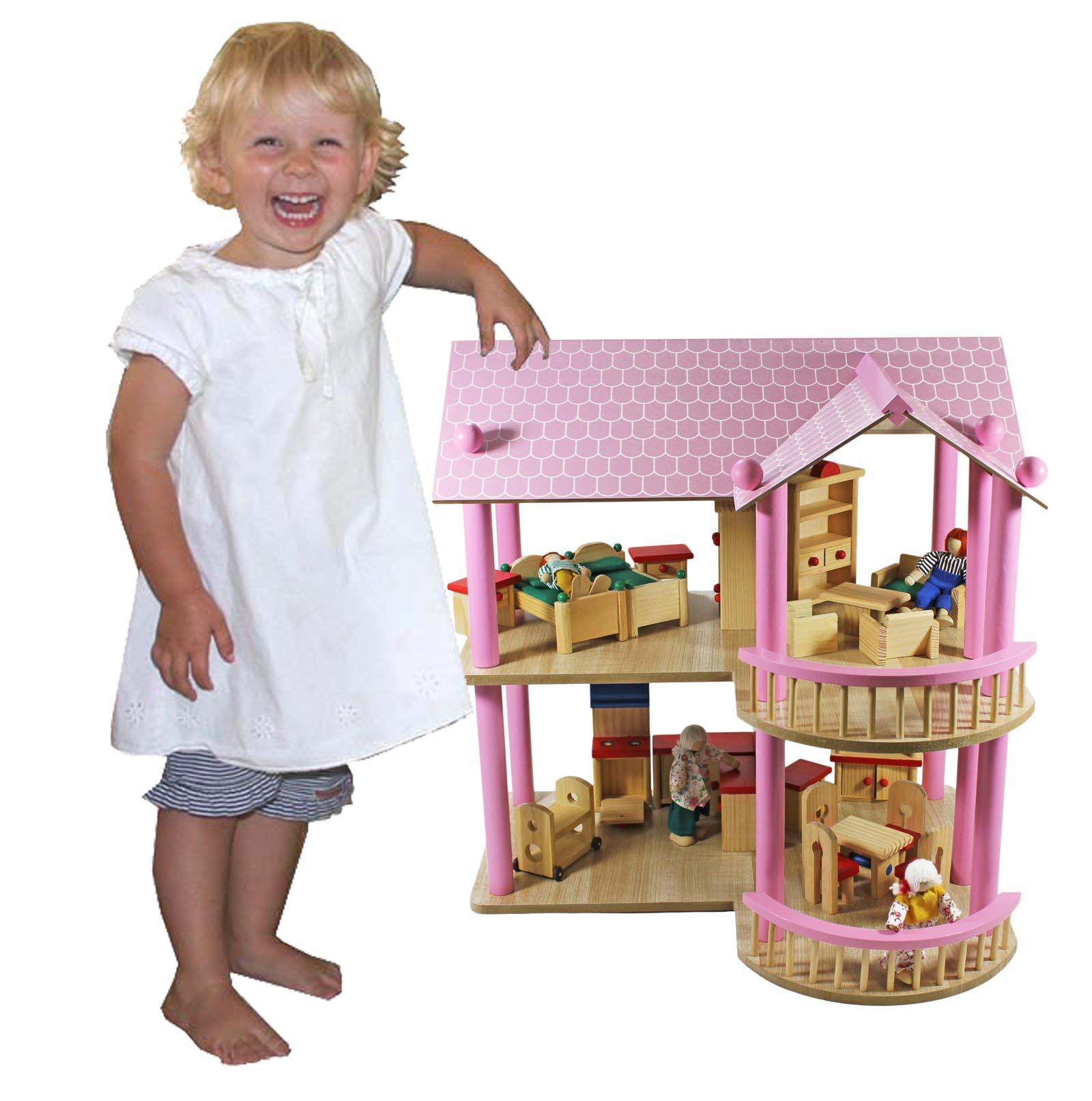 Puppenhaus Holz 30 Cm Puppen ~ riesiges XL Puppenhaus Villa aus Holz+ Möbel + Puppen 48x40x49,5cm