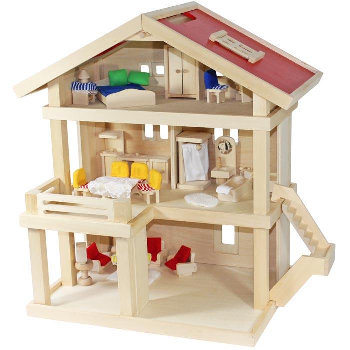 de Villa Freda Casa de muñecas Ciudad + Fundas + Muebles para