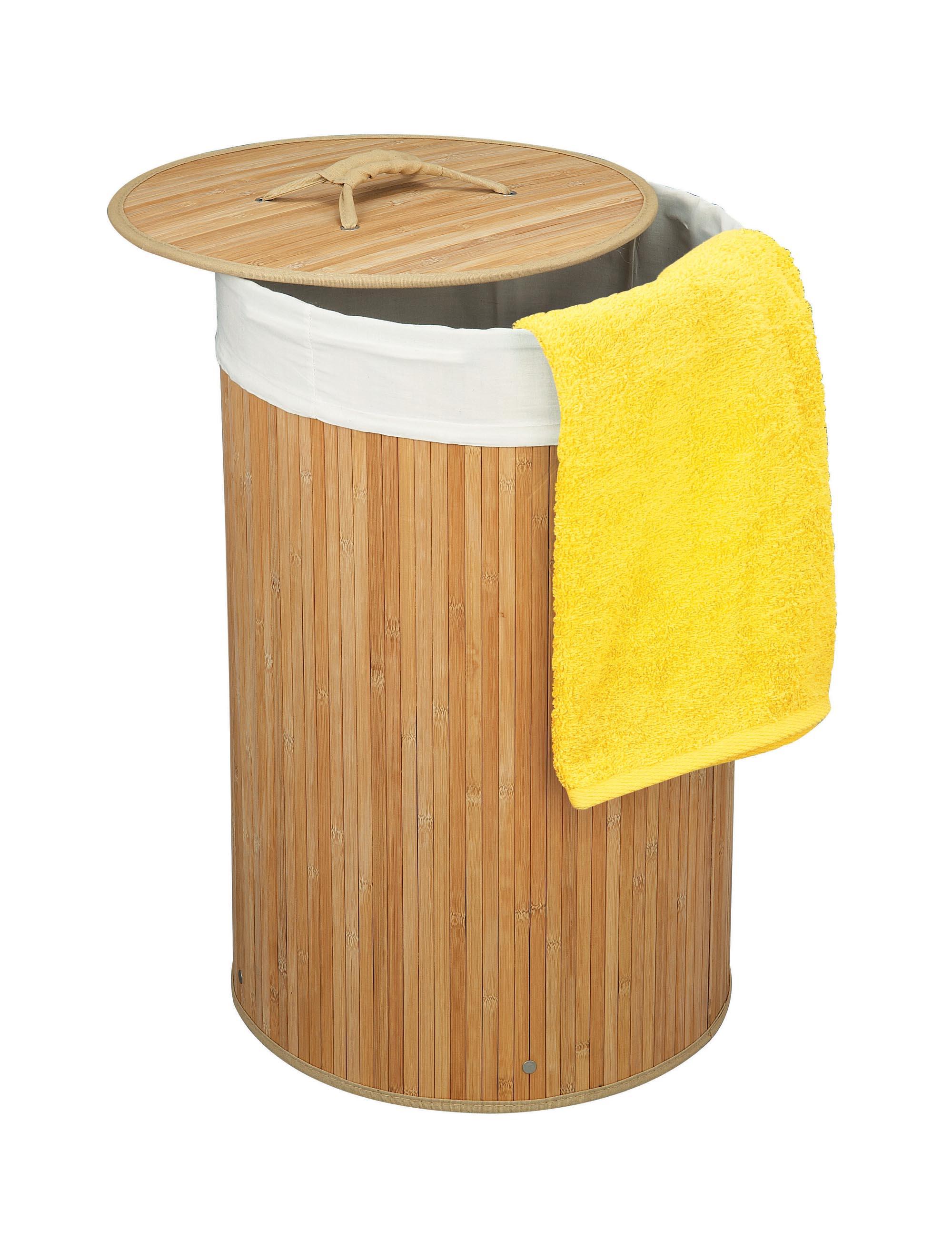 runder bambus w schekorb w schebox faltbar mit deckel und textileinsatz ebay. Black Bedroom Furniture Sets. Home Design Ideas