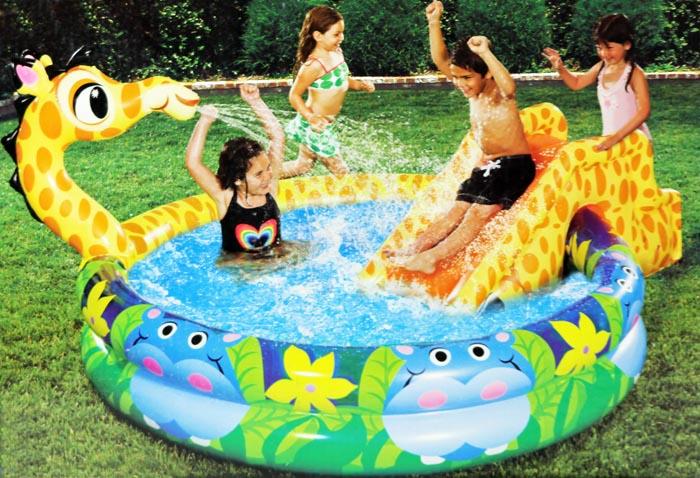 Banzai planschbecken kinderpool pool giraffe mit rutsche for Piscina mund