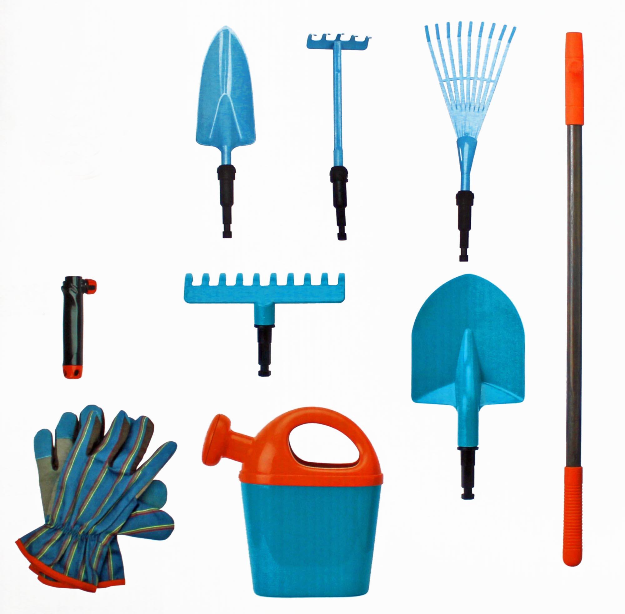 gardena g rtnerset f r kinder mit gieskanne schaufel handschuhe harke rechen universalstiel 9teilig. Black Bedroom Furniture Sets. Home Design Ideas