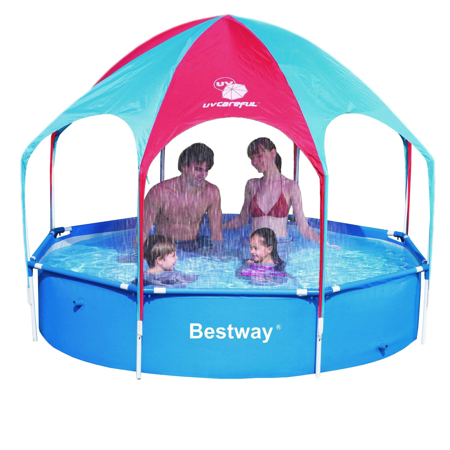 bestway planschbecken mit sonnendach sprinkler family pool. Black Bedroom Furniture Sets. Home Design Ideas