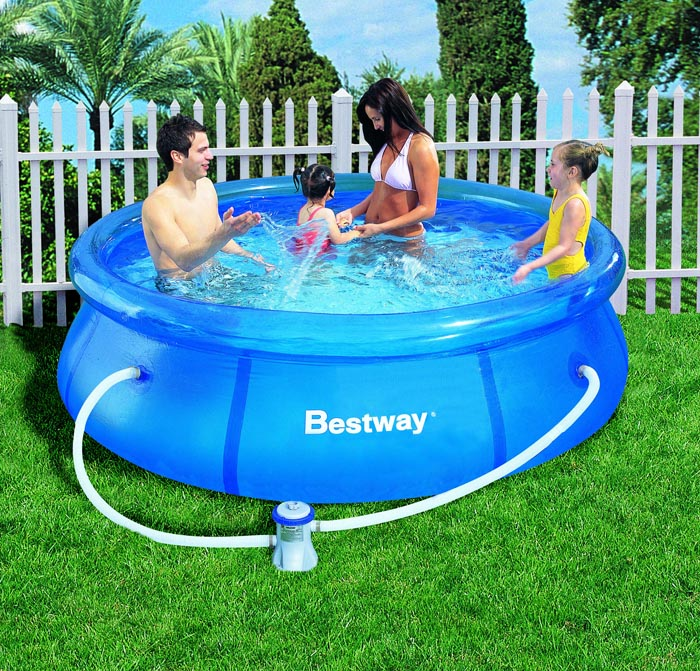 bestway 57100gs fast set quick up swimming pool schwimmbad 244x66cm mit filterpumpe. Black Bedroom Furniture Sets. Home Design Ideas