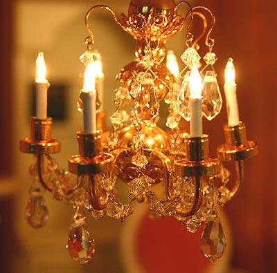 echter kristall kronleuchter puppenhaus 6 armig 1 12 ebay. Black Bedroom Furniture Sets. Home Design Ideas