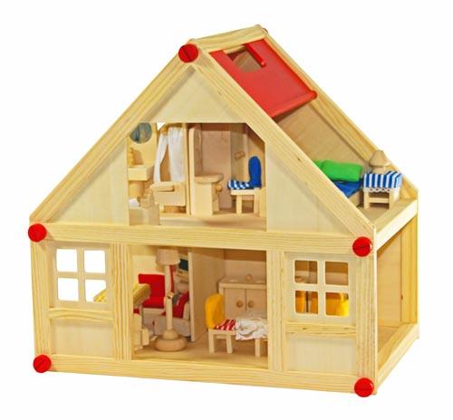 Groses Puppenhaus Aus Holz Von Eichhorn ~ Freda Puppenhaus + Puppenhausmöbel Puppenmöbel 28 Teile + Familie